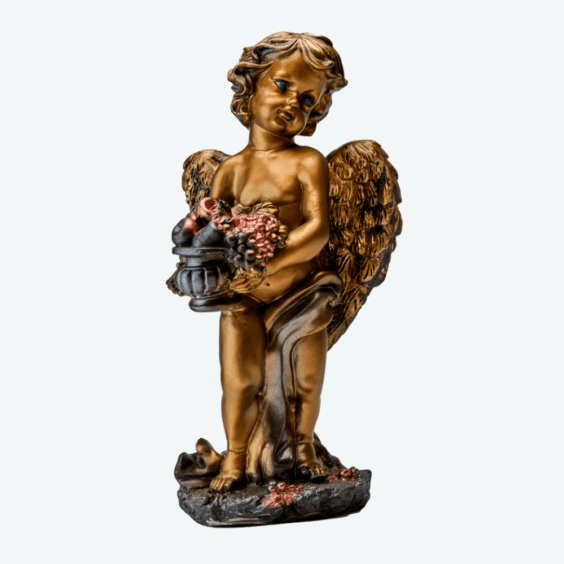 Ангел с корзиной бронза