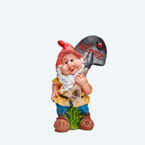 Гном с лопатой «Welcome»